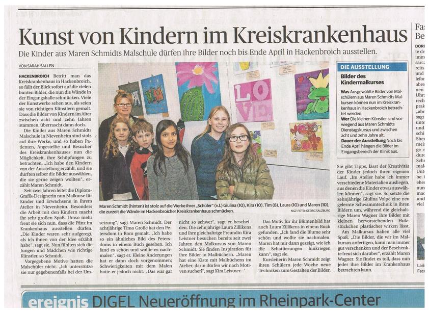 Ausstellung der Kinder - Zeitungsartikel