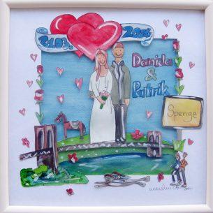 handgemaltes Bild zur Hochzeit