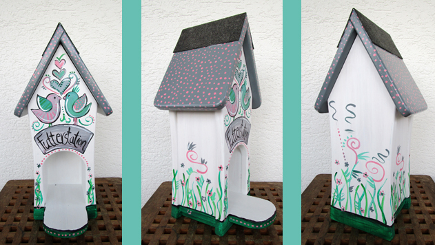 Futterhaus in Pastelltönen