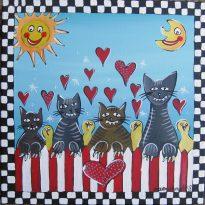 Kinderzimmerbild Katzen