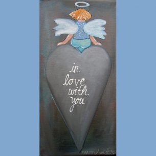 Schutzengel auf Herz mit Botschaft